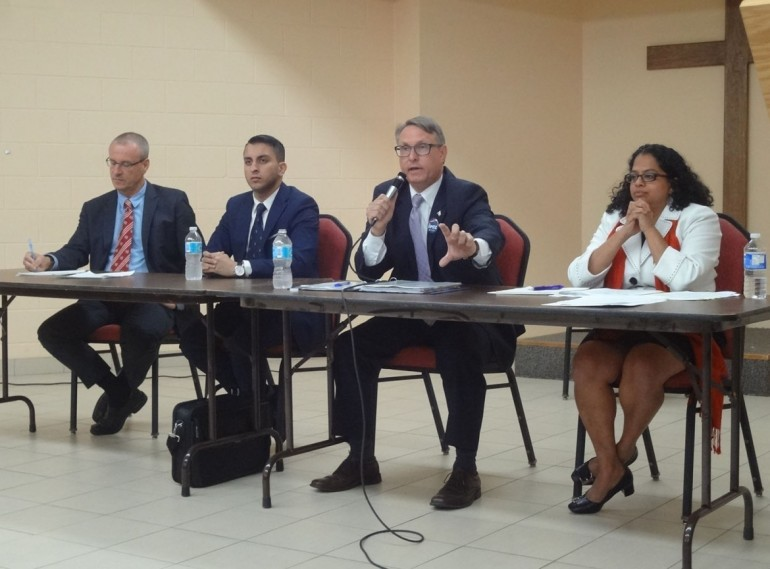 By Laura DaSilva (From left) Etobicoke Centre election candidates Liberal Borys Wrzesnewskyj, Green Party's Shawn Rizvi, Conservative Ted Opitz and the NDP's Tanya DeMello came together Monday, Oct. 5 for a debate at St. Clement Catholic Church Hall in Markland Wood. Issues of youth employment and Trans Pacific Partnership were discussed.