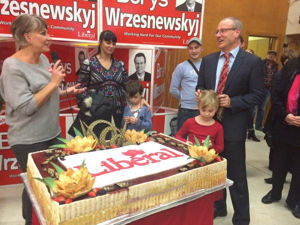 Liberal Candidate Borys Wrzesnewskyj (right) has won riding of Etobicoke Centre with 52.5 per cent of vote. (Photo: Alex Martino)