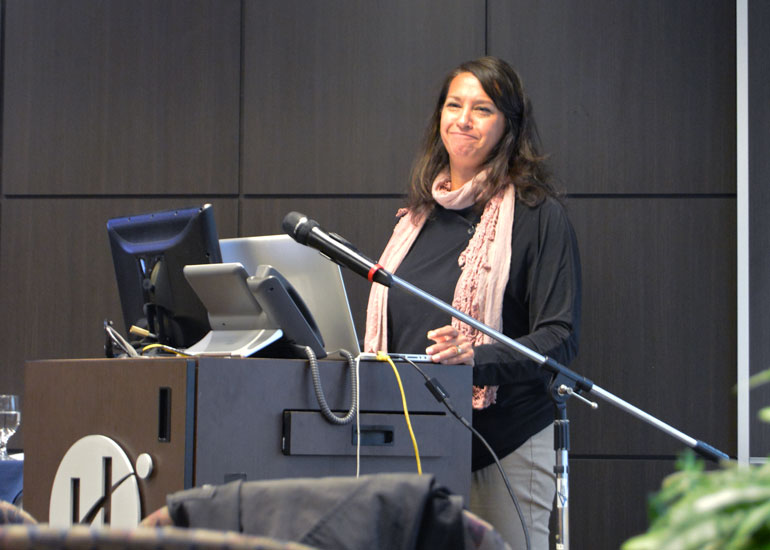 Author Carolyn Abraham during her President's Lecture at Humber College North campus. (Photo: Alex Martino)