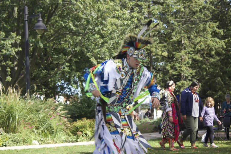 Demonstration dancer in regalia for the Culture Days powwow at Humber's Lakeshore campus, September 26. (Photo: Shannon Lucas)