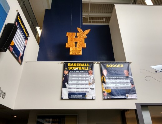 Varsity rugby teams' schedules have been removed from the entrance to Humber Athletics at North campus. (Photo: Mahnoor Yawar)