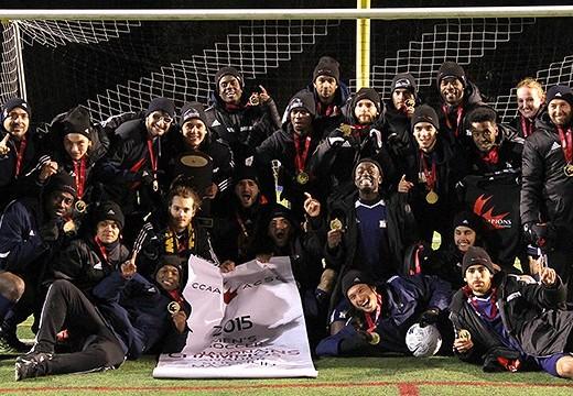 Humber Hawks defeat Capilano Blues to win national soccer championship. (Photo: OCAA)