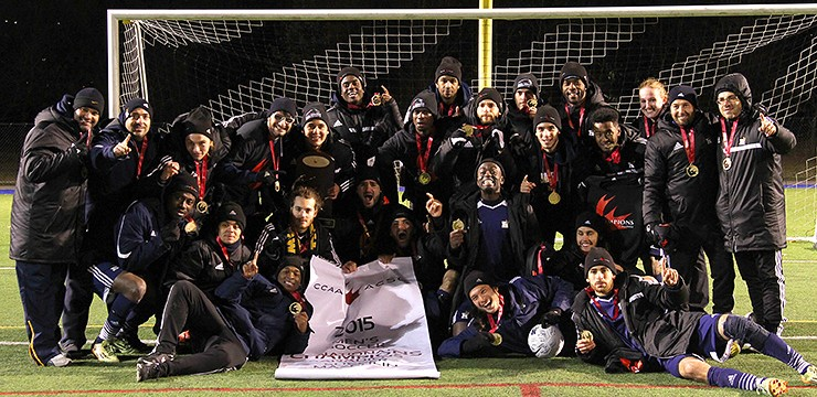 Humber Hawks defeat Capilano Blues to win national soccer championship. (Photo: OCAA)