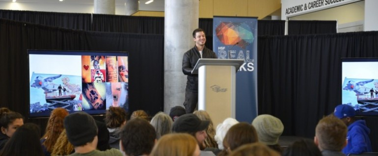 Toronto-based artist and Lovebots creator Matthew Del Degan spoke to students at Humber's Real Talks event held at the Learning Resource Commons Tuesday. (Photo: Christina McAllister)