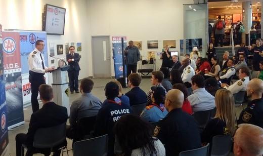 Toronto's RIDEcheck program visited Humber's North campus Thursday. (Photo: Twitter @OPP_HSD)