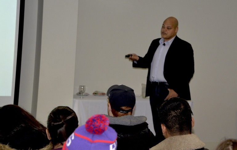 Jamil Jivani of the Policing Literacy Initiative speaks to Humber students about police racial bias in the U.S. and Canada. (Photo: Jeremy Appel)