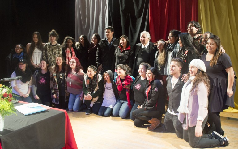 Students and members of the Humber community gather with the Right Honourable Justice Murray Sinclair in the Lakeshore campus auditorium. (Photo: Delia MacTaggart)