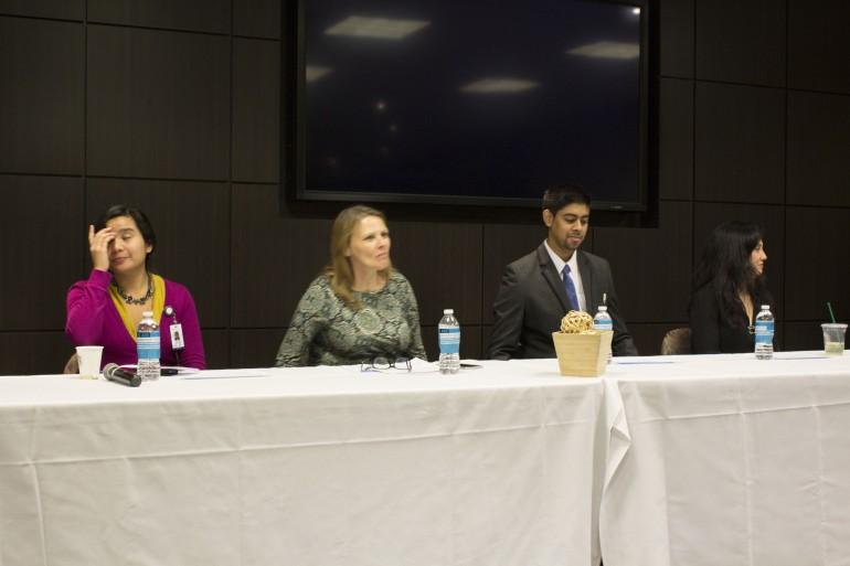 First Generation Panelists from left to right: Amanda Serino, Corrine Johnston, Mobeen Sheik, and Sandra Tassone. (Photo: Shannon MacDonald)