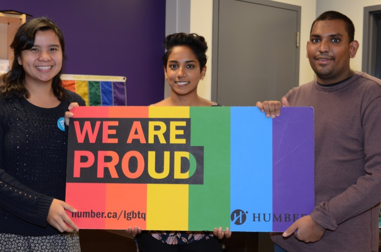 (From left to right) Amanda Soriano, coordinator for orientation and transition, Natalie Elisha, coordinator of the resource centre and Tareek Ferouz, a second-year student in the CICE program at Humber. (Photo: Natalie Dixon)
