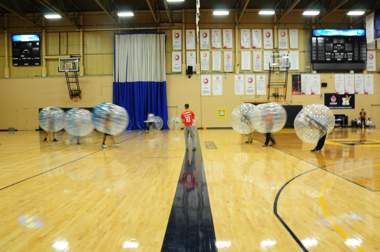 Bubble sports offer a safe way to play contact games. Bubble soccer was held at Humber last week and it was a big success. (Linda Huynh)