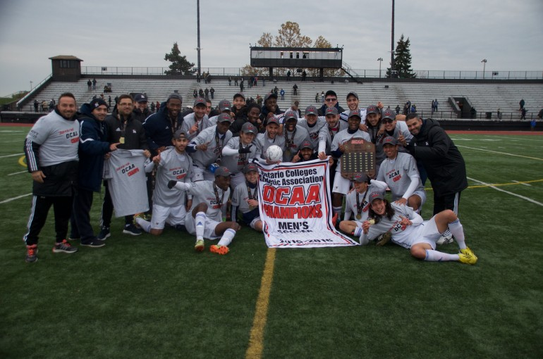 Humber Hawks defeated the Algonquin Thunder last Saturday to earn their fifth OCAA title in six years. This win comes after losing their title to Algonquin last year.(Photo: Jesse Bonello)