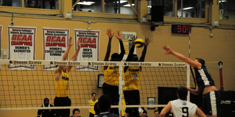 Humber Hawks block a Niagara Knights attempt during a Nov. 19 game at North campus against the OCAA champs. (Tyler Hehn)