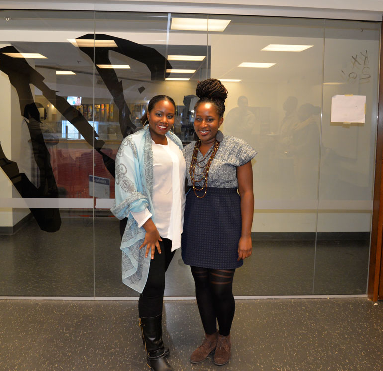 BSA president Lakeisha Ferreria (left) and Guest speaker Shaunasea Brown (right) said they want to change the perceptions of black hair. (Photo: Aresell Joseph)