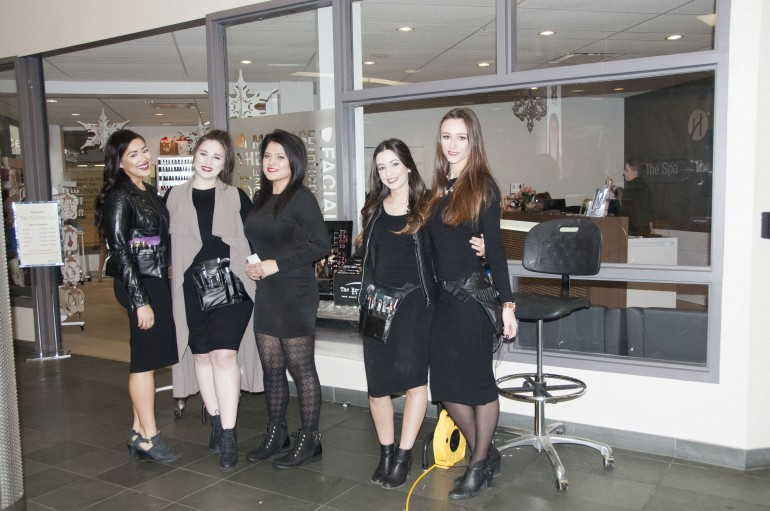 Cosmetic management students organized an event to promote Nudestix makeup on Wednesday. From left to right, Hannah Rose Mckie,Lillian Frank, Andrea Occhinogrosso, Alessia D'Alessandro, Sabrina Toti. (Photo: Allyyssa Sousa-Kirpaul)