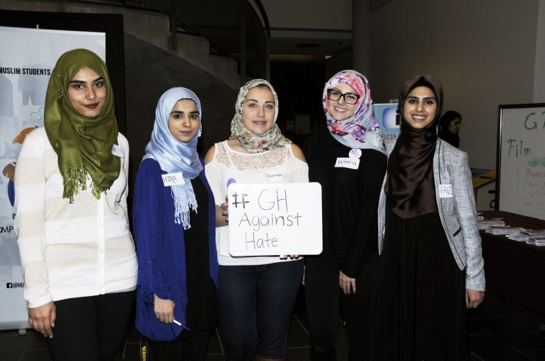Hira Zulfiqar (second from left) and Faiza Zulfiqar (far right) helped organize the GH Against Hate for the Justice Studies program at Guelph-Humber. (Jess Reyes)