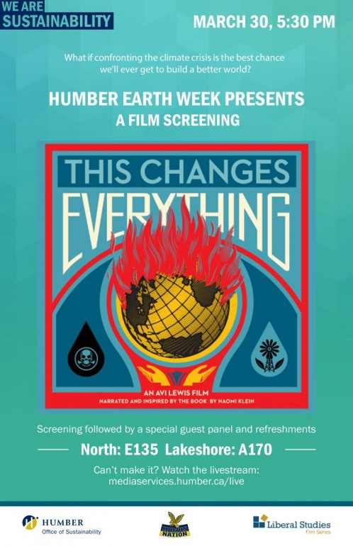 Poster for This Changes Everything marks environmental film based on Naomi Klein's book. School of Sustainability