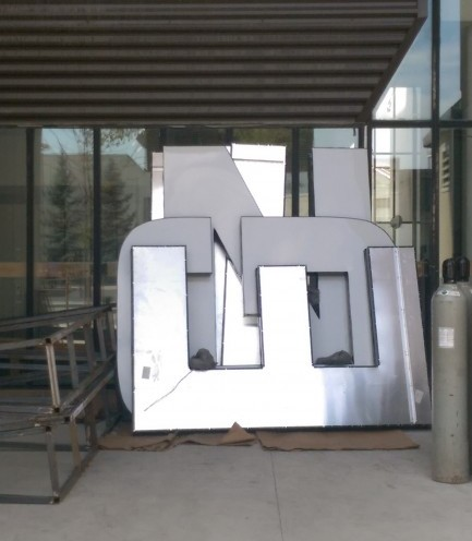 The new IGNITE sign is stored when not in use. (Hayley Michaud)