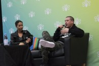 Real Talks host and former MuchMusic VJ Sara Taylor, talking with Drex Jancar (Christina Mulherin)