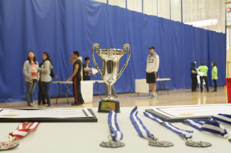 "Certificates, medals, and a trophy for the ""Ultimate Guelph-Humber Champion"" at the GH Games, run by GH Societies.  (Sanzana Syed)"