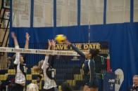 (Elliott Williams) Hawks Alexandra Newman (13) spikes the ball into Conestoga territory. 
