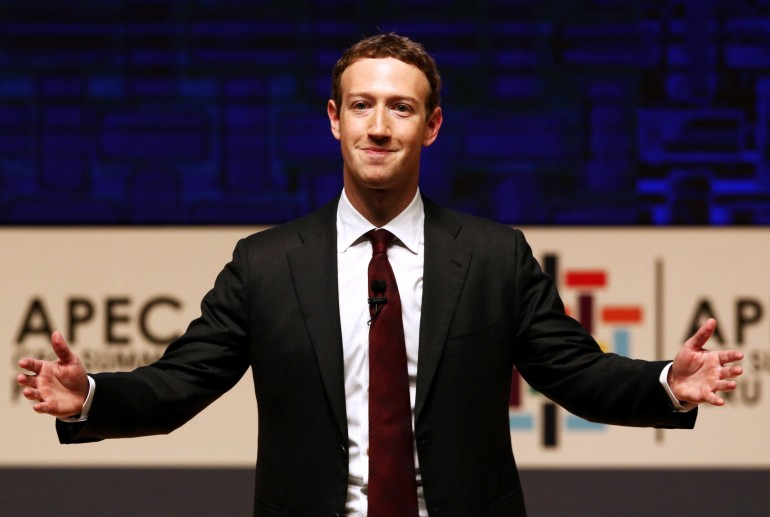 REUTERS/Mariana Bazo/File Photo Mark Zuckerberg gestures while addressing the audience during a meeting of the APEC (Asia-Pacific Economic Cooperation) CEO Summit in Lima, Peru, November 19, 2016.