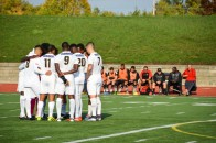 Humber's men's soccer team huddles during a game against Seneca on Oct. 18, 2016. Shelby Cockhill