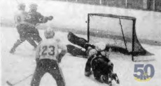 The 1981 Humber Hawks Varsity Hockey team dominating an opponent, on their way to the Canadian Hockey Championships. Humber has not fielded a Varsity Hockey team in 13 years.