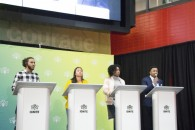 IGNITE presidential candidates (from left) Ryan Watt, Maja Jocson, D'Andra Montaque and Lance Constantine debate at the IGNITE Student Centre, North campus, on Tuesday (Ruth Escarlan)