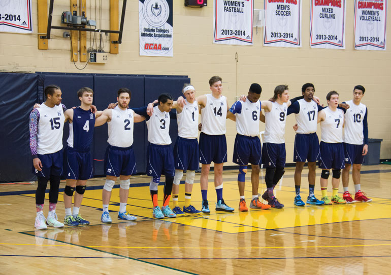 Hawks' men's volleyball will be rebuilding with the looming departure of veterans Terrel Bramwell (#15) and Matt Isaacs (#17). (Ali Amad)